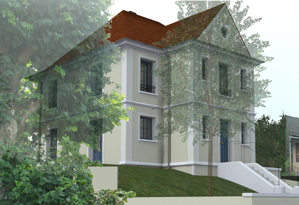Cr ation d une maison moderne classique acom architectes for Maison classique moderne